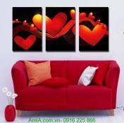 Tranh bộ 3 trái tim treo phòng ngủ lãng mạn AmiA 1211