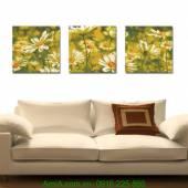 Tranh hoa cúc họa mi ghép bộ 3 tấm AmiA 1214