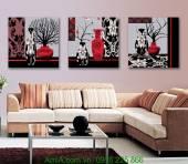 Tranh bộ 3 bình hoa tân cổ điển trang trí phòng khách đẹp AmiA 1239
