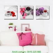 Tranh tách trà và hoa thư thái AmiA 1243
