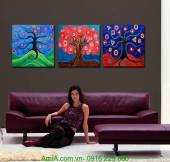Tranh ghép bộ cây đa sắc trang trí AmiA 1248