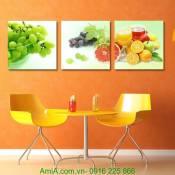 Tranh ghép bộ hoa quả trang trí phòng ăn AmiA 1253
