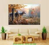 Tranh canvas cảnh thiên nhiên những chú nai vàng AmiA 4192