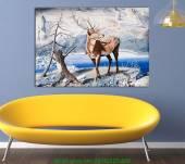 Tranh canvas cảnh mùa đông: Chú hươu AmiA 4193