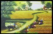 Tranh in vải canvas quê hương mùa lúa AmiA 4197
