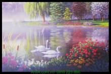 Tranh canvas đẹp hồ thiên nga AmiA 4207