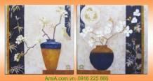 Tranh bình hoa mai trắng in vải canvas AmiA 4211