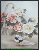 Tranh canvas nghệ thuật đôi chim hoa mẫu đơn