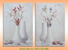 Tranh ghép bộ bình hoa hai tấm canvas AmiA 4240
