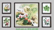 Bộ khung tranh nghệ thuật in ép gỗ hiện đại AmiA 1255