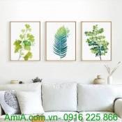 Bộ khung tranh chiếc lá ba tấm AmiA 1257