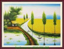 Tranh vẽ phong cảnh làng quê mùa lúa chín TSD 220