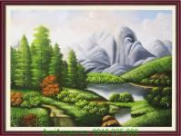 Tranh vẽ phong cảnh đẹp thiên nhiên sông núi TSD 224