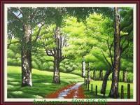 Tranh vẽ công viên cây xanh mát mẻ mùa hè TSD 225