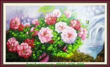 Bức tranh vẽ hoa mẫu đơn bằng sơn dầu TSD 229