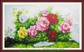 Tranh vẽ hoa mẫu đơn trên thảm cỏ xanh TSD 230
