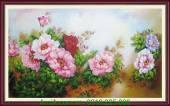 Tranh vẽ sơn dầu phong thủy hoa mẫu đơn TSD 232