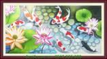Tranh vẽ cá chép hoa sen bằng sơn dầu TSD 233