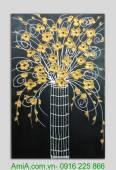 Bức tranh sơn dầu đắp nổi lọ hoa vàng TSD 237