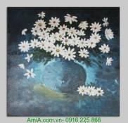 Tranh vẽ bình hoa cúc đắp nổi sơn dầu TSD 240