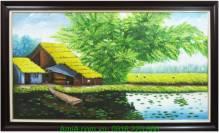 Tranh sơn dầu toàn cảnh quê hương làng quê cực đẹp TSD 246