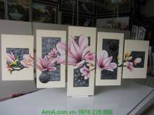 Tranh vẽ hoa mộc lan bằng sơn dầu khổ lớn TSD 248