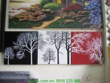 Tranh sơn dầu ghép bộ 3 tấm cây sắc màu TSD 249