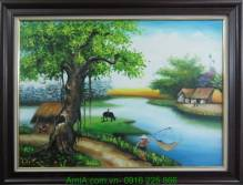 Tranh phong cảnh quê hương Việt Nam vẽ sơn dầu TSD 251