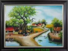 Tranh vẽ phong cảnh quê hương bình dị bằng sơn dầu TSD 250