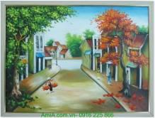 Tranh sơn dầu phố cổ Hà Nội gánh hàng rong TSD 254