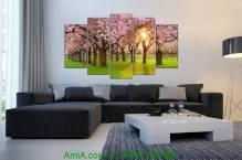 Tranh hàng cây hoa đào đẹp AmiA 1277