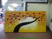 Tranh sơn dầu đắp nổi hoa đỏ nền vàng sang trọng TSD 263