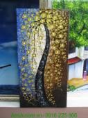 Tranh sơn dầu đắp nổi cây đời nghệ thuật hoa vàng TSD 261