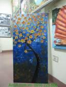 Tranh sơn dầu đắp nổi nghệ thuật hoa vàng nền xanh TSD 262