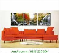 Tranh phong cảnh thác nước rừng cây đẹp AmiA 1282