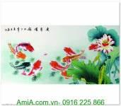 Tranh cá chép hoa sen cửu ngư quần hội AmiA 1286