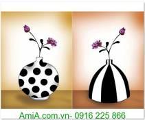 Tranh ghép bình hoa 2 tấm 40x50cm AmiA 1291
