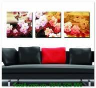 Tranh vườn hoa mẫu đơn nghệ thuật AmiA 1298