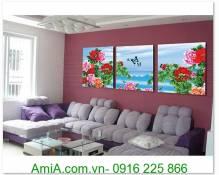 Tranh hoa mẫu đơn ghép gỗ 3 tấm AmiA 1300