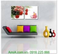 Tranh treo tường hộp quà hoa hồng ghép bộ AmiA 1302