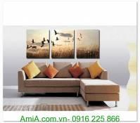 Tranh phong cảnh thiên nhiên đàn chim ghép bộ 3 tấm AmiA 1303