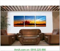 Tranh phong cảnh nước ngoài ghép bộ 3 tấm AmiA 1304