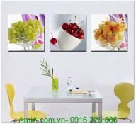 Tranh treo tường phòng ăn hoa quả bộ 3 tấm AmiA 1313
