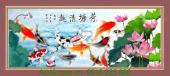 Tranh cá chép hoa sen in giả sơn dầu AmiA 1327
