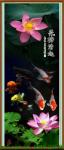 Tranh cá chép và hoa sen khổ dọc in giả sơn dầu AmiA 1323