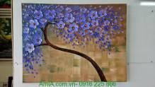 Tranh cây đời hoa màu xanh hiện đại TSD 264