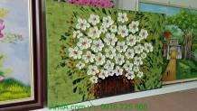 Tranh vẽ sơn dầu đắp nổi bình hoa cúc họa mi TSD 276