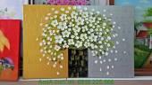 Tranh vẽ đắp nổi sơn dầu bình hoa cúc họa mi TSD 277