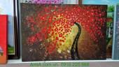 Tranh sơn dầu cây đời đắp nổi hoa màu đỏ TSD 278