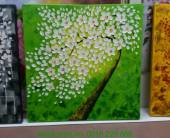 Tranh sơn dầu cây đời hoa trắng nền xanh lá TSD 283